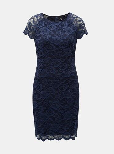 44ad2404a6e0 Tmavě modré krajkové šaty s krátkým rukávem VERO MODA Milli - Glami.cz