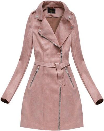 The SHE Růžový semišový dámský kabát s páskem - Glami.cz a1e60eddeb