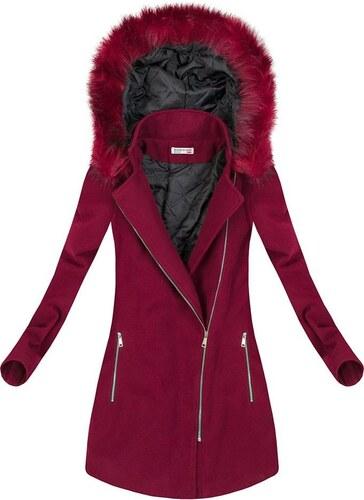 3a90cd2bb6 The SHE Bordovo červený dámsky zimný kabát s kožušinou - Glami.sk