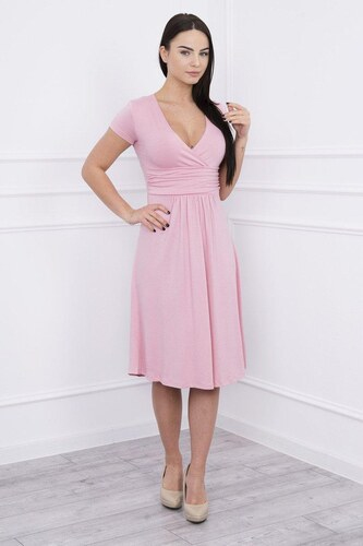 -21% MladaModa Voľné šaty s krátkym rukávom model 60942 pudrovo ružové bee60a4637