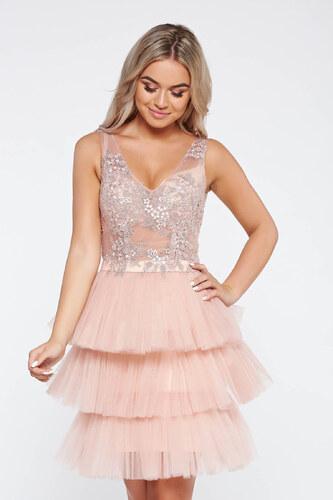 Rózsaszínű StarShinerS alkalmi ruha belső béléssel tüll csipkés anyagból  virágos díszek 3d effekt be82dd9a94
