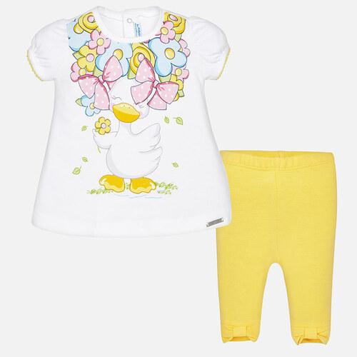 3288889ff78 MAYORAL dívčí set legíny a tričko s krátkým rukávem a potiskem Kachna -  bílo žlutý