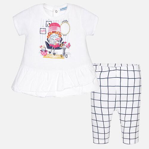 17bb236b1e5 MAYORAL dívčí set tričko s krátkým rukávem a kostkované legíny - bílý