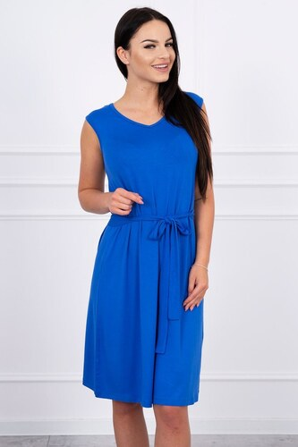 50b147a70118 MladaModa Trapézové šaty s viazankou v páse farba kráľovská modrá ...