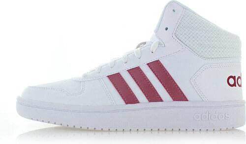 adidas CORE Női bordó-fehér magasszárú tornacipő Hoops 2.0 Mid ... d513a95faa