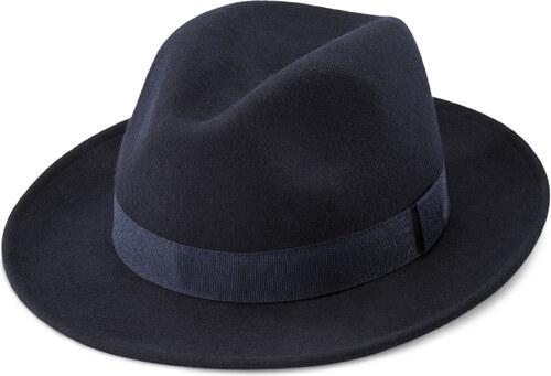 3600414b1c3 Fawler Modrý vlněný klobouk Fedora Alessandria Fido - Glami.cz