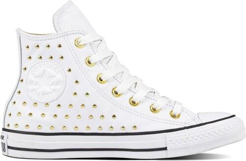 Converse bílé kotníkové tenisky se cvočky Chuck Taylor All Star Hi White  Gold - 41 546711bf9ca