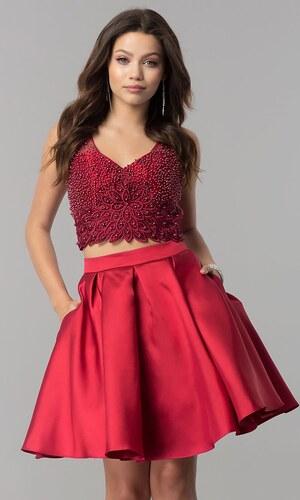 Rubínové stylové krátké šaty - Glami.cz b456129033
