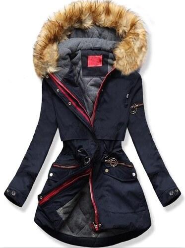 MODOVO Dámska zimná bunda s kapucňou Q624 tmavo modrá - Glami.sk e249d23bfd8