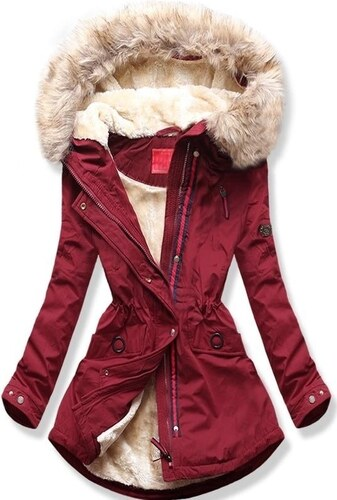MODOVO Női téli kabát kapucnival Q35 bordó - Glami.hu 001fb001d3
