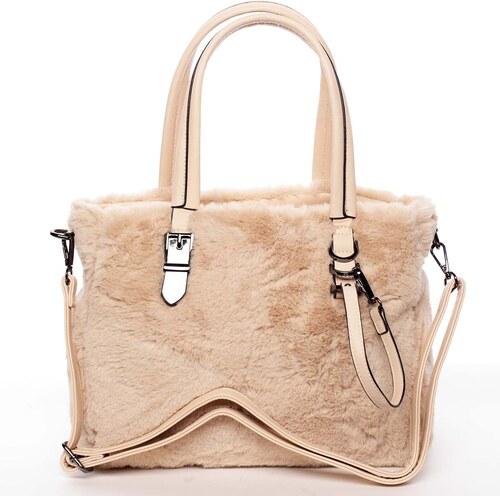 8aef61c4feb6 Exkluzivní kožešinová kabelka do ruky meruňková - MARIA C Zoey telová