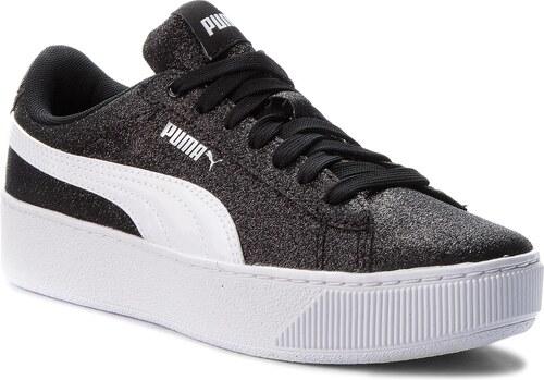121fe2590572 Sportcipő PUMA - Vikky Platform Glitz Jr 366856 02 Black/White/Silver