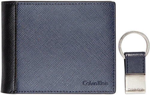 Calvin Klein Pánska modrá peňaženka s kľúčenkou Saffiano Leather Two-Tone  Bifold Wall et   4aae24b1aa2