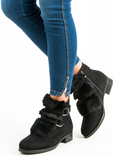 CNB Čierne členkové topánky s kožušinkou - Glami.sk f782f8012c0