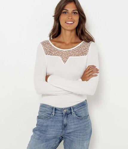 Camaïeu T-shirt manches longues empiècement dentelle - Glami.fr c678c09949c5