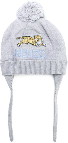 Kenzo Kids patch detail bobble hat - Grey - Glami.sk fa9a3fe5642