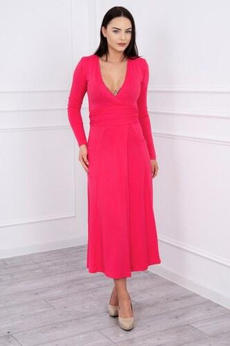 5dae72f6b762 MladaModa Rovné šaty s hlbokým výstrihom v tvare V fuksiové - Glami.sk