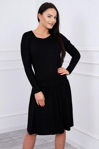 9c837c68e356 MladaModa Šaty s rozšírenou spodnou časťou a dlhým rukávom čierne ...