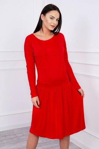 ce3ec2ad031f MladaModa Šaty s rozšírenou spodnou časťou a dlhým rukávom červené ...