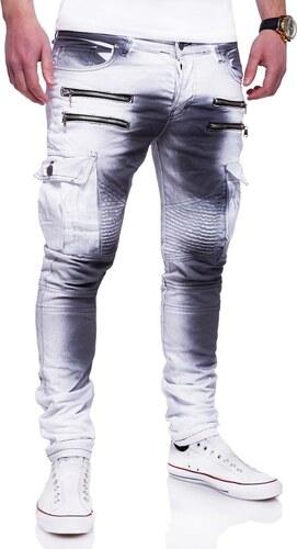 Behype Pánské džíny Zipper Biker Slim Fit BLK RJ-3196 - Glami.cz 551787f2c9