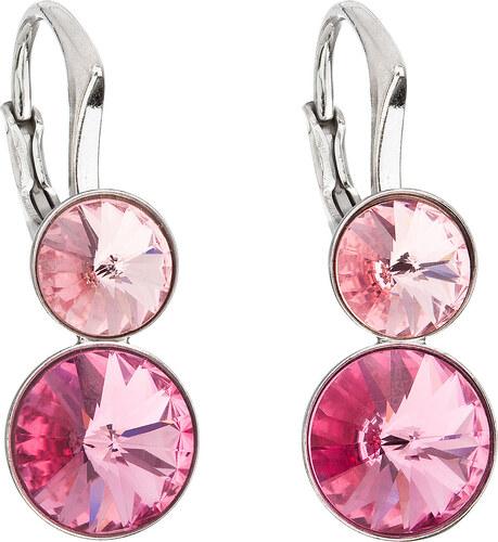 EVOLUTION GROUP Stříbrné náušnice visací s krystaly Swarovski růžové kulaté  31233.3 991df2b4cbd