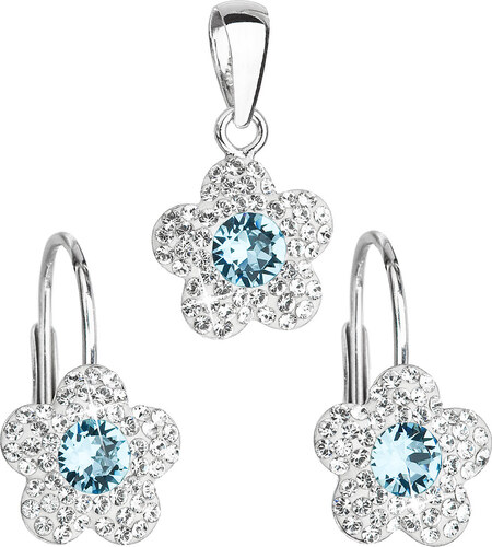 f1a632591 EVOLUTION GROUP Sada šperkov s krištáľmi Swarovski náušnice a prívesok  modrá kytička 39162.3