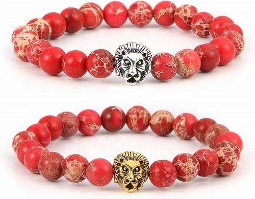 Hipsters Náramok s hlavou leva z červeného jaspisu - Glami.sk 11c4501d092