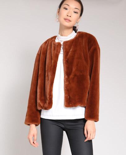 Kurzer Mantel aus Kunstfell Damen Farbe Zartbeige Größe L PIMKIE Mode für Damen