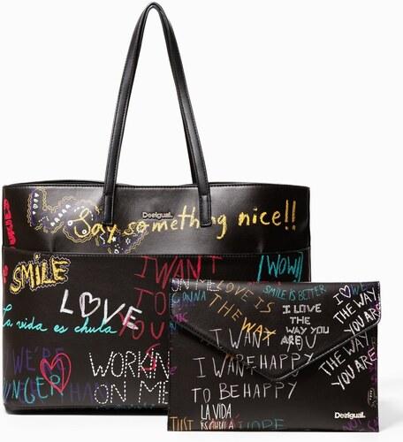 Desigual černá kabelka s barevnými nápisy Graffiti Wall Seattle Wallet 86fe9e12a2c