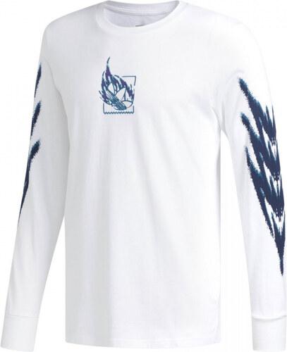 1e6c6594d2 Pánské tričko adidas Originals TNNS LS T (Bílá   Modrá) - Glami.cz