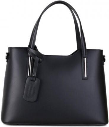 Talianske Luxusné kožené kabelky na plece čierne Carina stredné e4281d45ed0