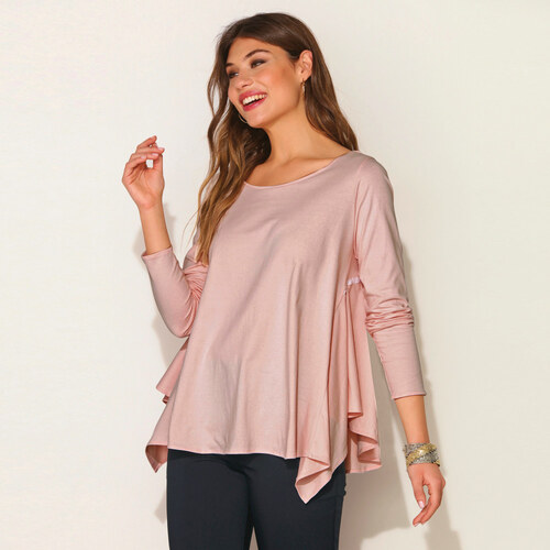2db62e498757 VENCA Asymetrické tričko s nariasením ružová S - Glami.sk