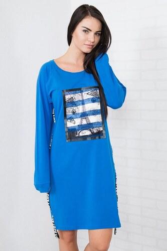 MladaModa Šaty s Eiffelovou vežou farba kráľovská modrá - Glami.sk 2c371916839