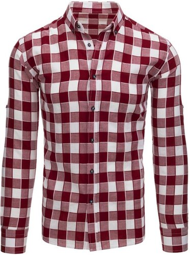 Manstyle Bordó-bílá pánská stylová košile kostkovaná - Glami.cz 118de5fbf2