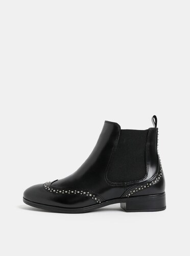 30e1e98a88b2a Čierne dámske kožené chelsea topánky s kovovou aplikáciou ALDO ...