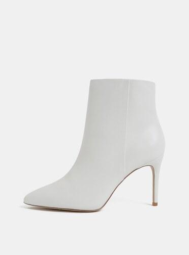 d05f929bfa07 Biele kožené členkové topánky na ihličkovom podpätku ALDO - Glami.sk