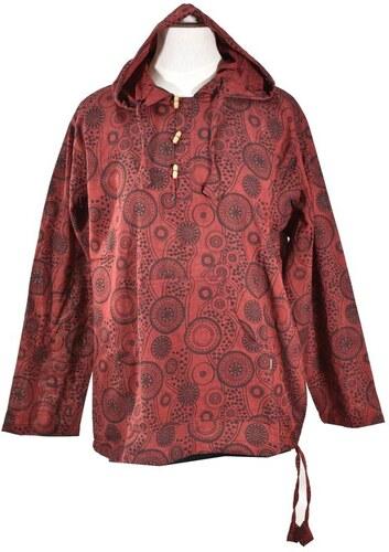 be6f8c7b97e Vínová pánská košile-kurta s dlouhým rukávem a kapucou