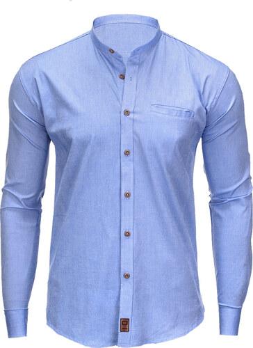 Ombre Clothing Pánská košile s dlouhým rukávem Hunter světle modrá ... 438db8c5d0