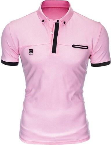 6ad4fcb967a2 Ombre Clothing Pánske polo tričko s golierom Roisto ružové - Glami.sk