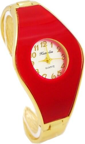 e4588e1bb Dámské hodinky Kamelia Lenny zlato-červené 670D - Glami.cz