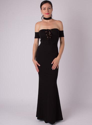 -20% MODA ITALIA Čierne dlhé spoločenské šaty s odhalenými ramenami 5de6167d955