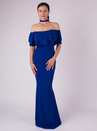 MODA ITALIA Modré dlhé spoločenské šaty okolo krku - Glami.sk a9b156fb284