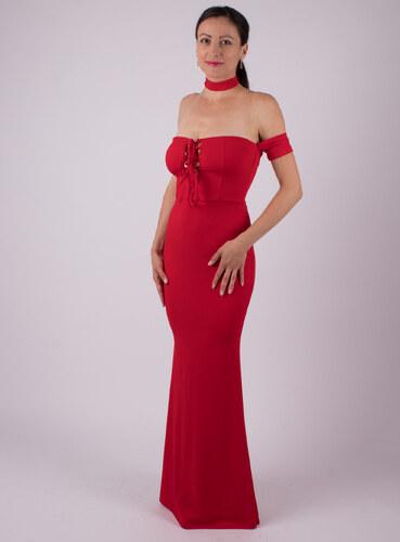 375e988a3082 MODA ITALIA Červené dlhé spoločenské šaty s odhalenými ramenami ...