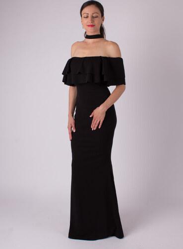 2596bdaed720 MODA ITALIA Čierne dlhé spoločenské šaty okolo krku - Glami.sk