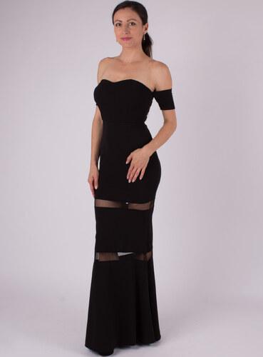 MODA ITALIA Dlhé čierne spoločenské šaty cez ramená - Glami.sk 8a6fc55f44d