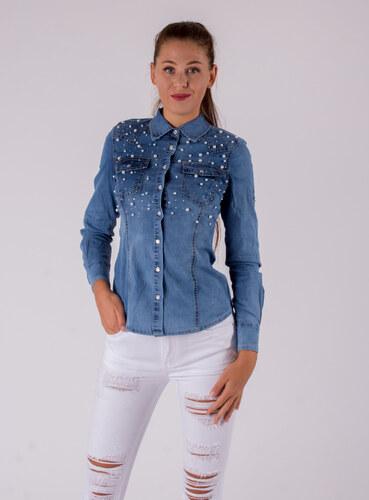 9267c20d0fa1 RE-DRESS JEANS Dámska riflová košeľa s perlami - Glami.sk
