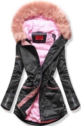 -39% MODOVO Női téli kabát kapucnival PO-305 grafitszürke-rózsaszín fc666a412a
