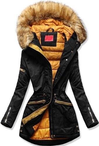MODOVO Női téli kabát kapucnival PO-305 fekete-narancssárga - Glami.hu 518cbdd3a9