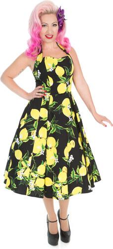 e624a57337a5 Dedoles Černé retro pin up šaty Citrony XL - Glami.cz
