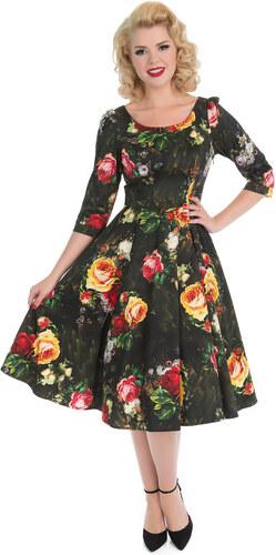 c96685bb3ee2 Dedoles Retro pin up šaty s rukávy Malované růže S - Glami.cz